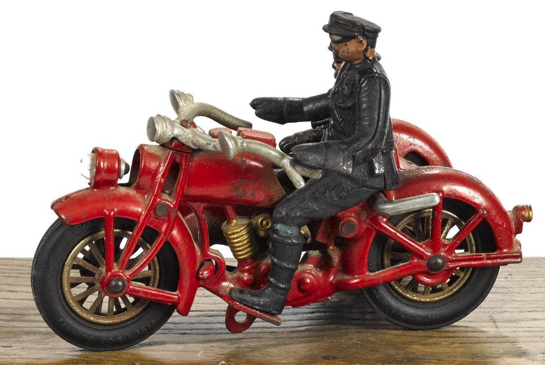 Hubley cast iron motorcycle and sidecar with a battery