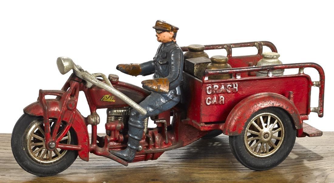 Hubley cast iron Indian Crash Car three-wheel