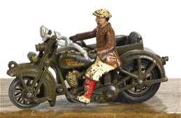 Hubley cast iron Harley Davidson motorcycle with a