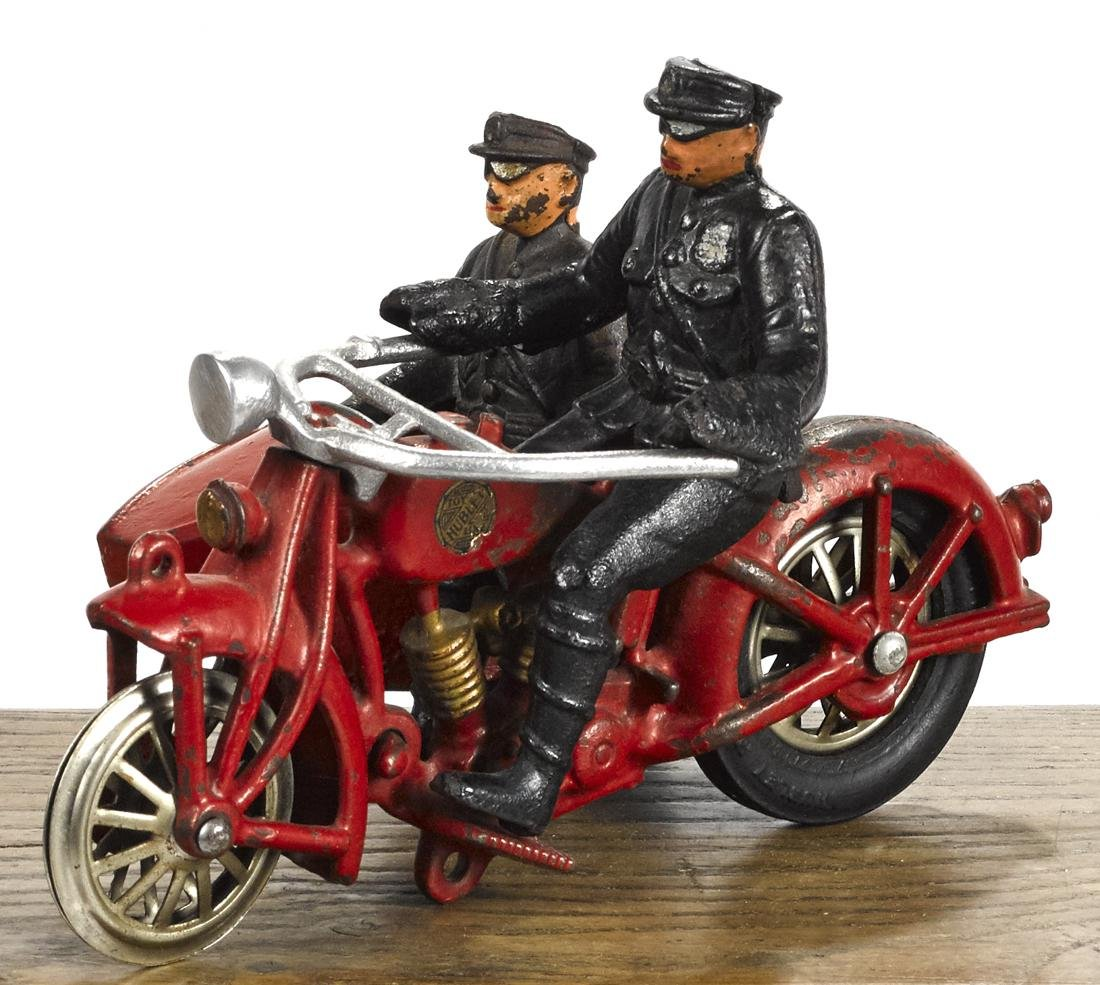 Hubley cast iron police motorcycle and sidecar, 8 1/2''