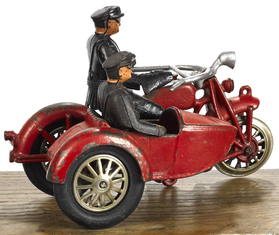 Hubley cast iron police motorcycle and sidecar, 8 1/2'' - 2