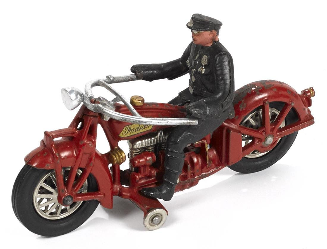 Hubley cast iron Indian police motorcycle, 9 1/4'' l.