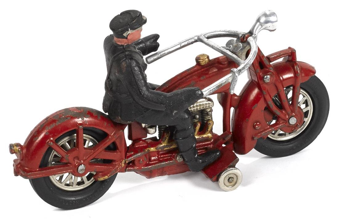 Hubley cast iron Indian police motorcycle, 9 1/4'' l. - 2