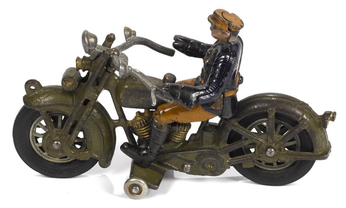 Hubley cast iron Harley Davidson police motorcycle, 9'' - 2