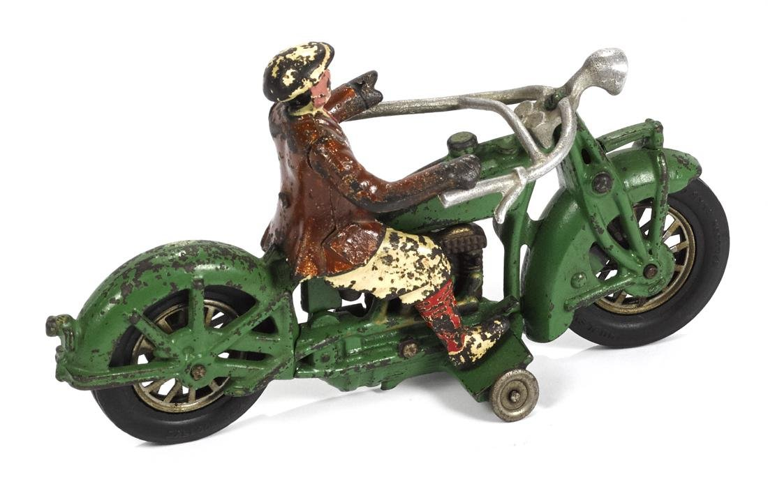 Hubley cast iron Indian motorcycle with a civilian - 2