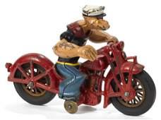 Hubley cast iron Popeye Patrol motorcycle, 8 1/2'' l.