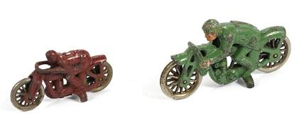 Two Hubley cast iron hillclimber motorcycles, the