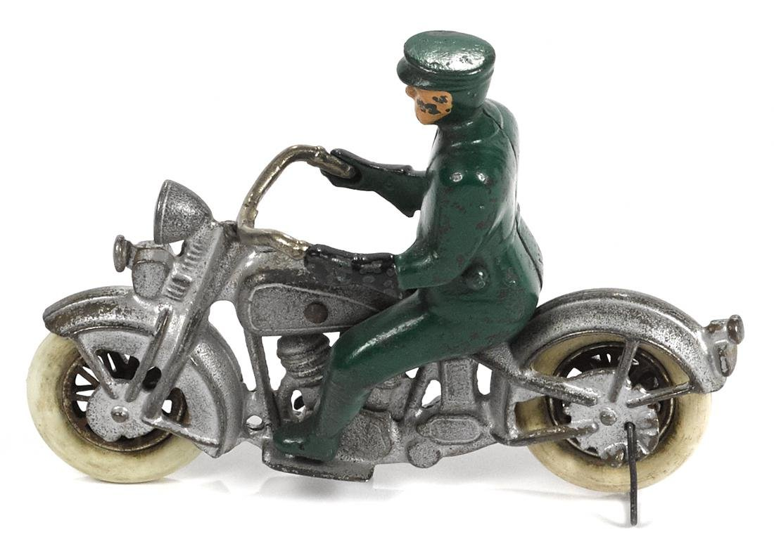 Rare Kilgore cast iron police motorcycle, 6 1/2'' l. - 2