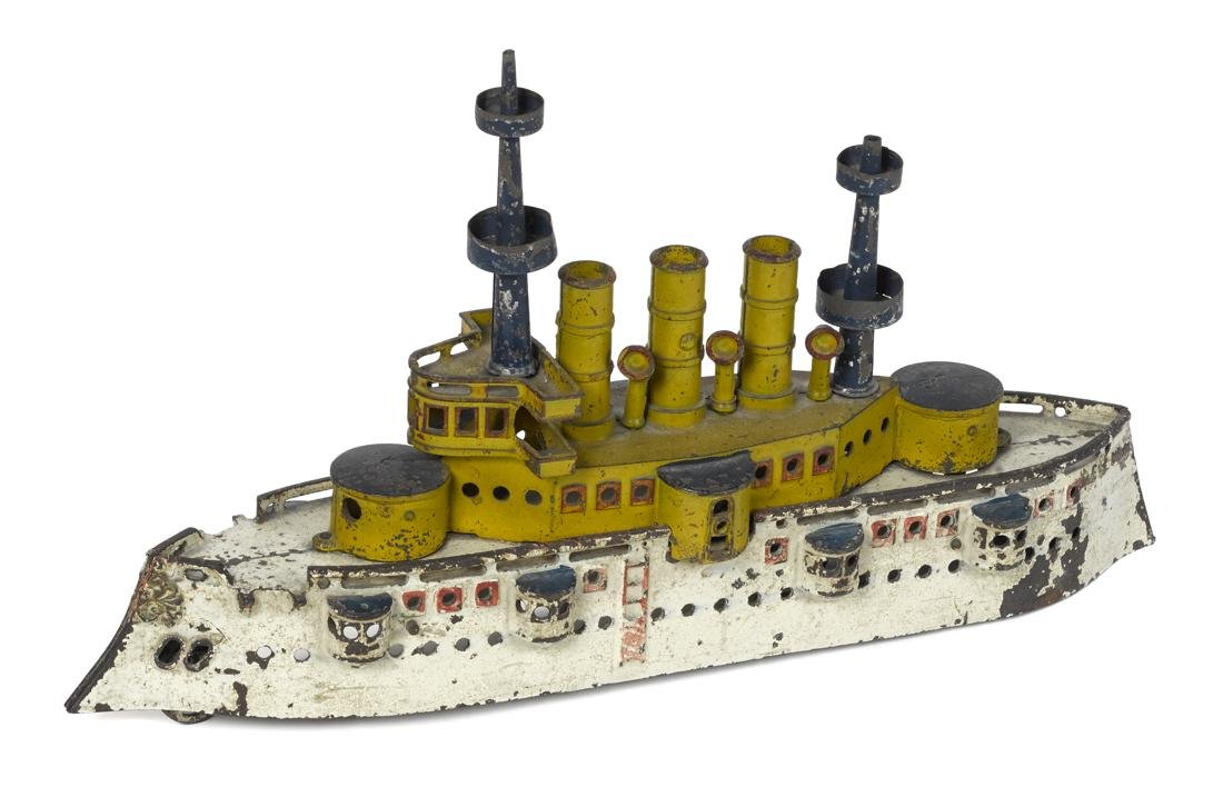 Dent cast iron battleship New York animated pull toy,