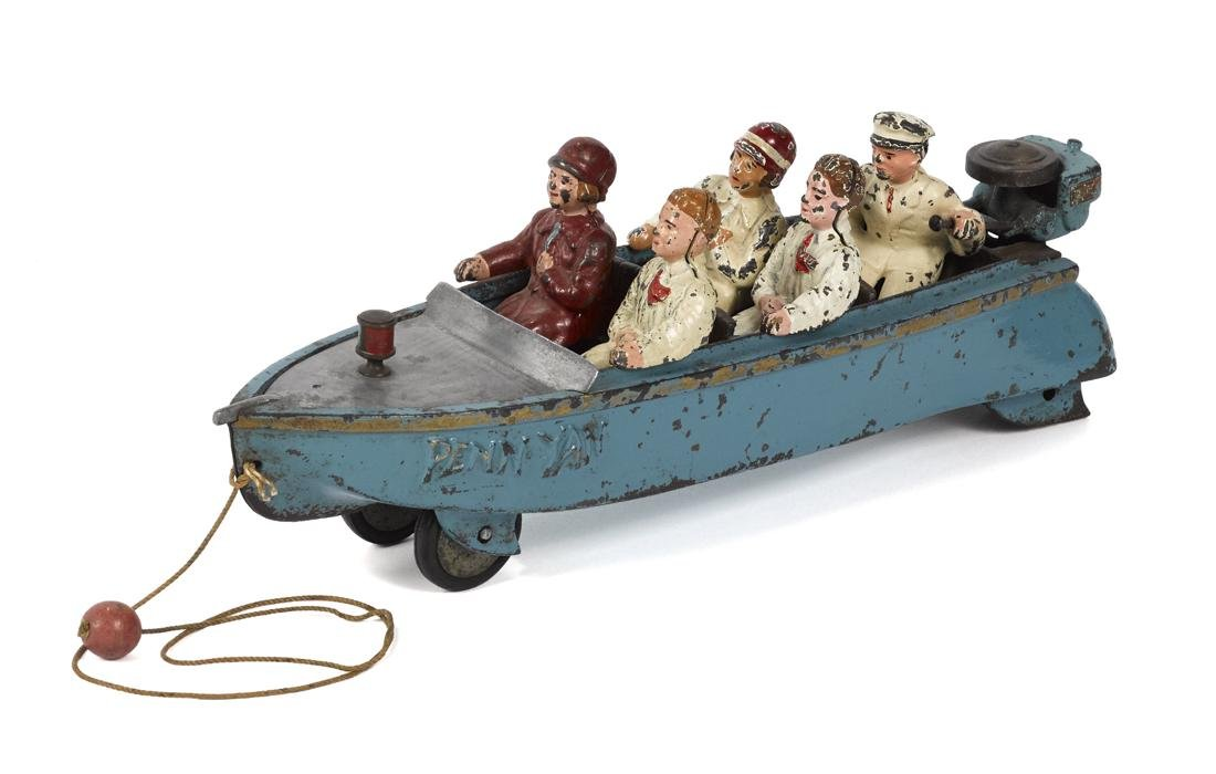 Extremely scarce Hubley cast iron Penn Yan speed boat