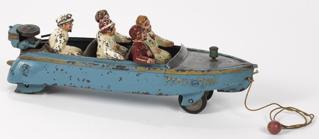 Extremely scarce Hubley cast iron Penn Yan speed boat - 2