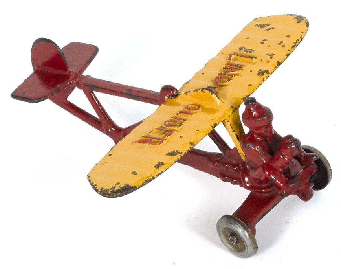 Hubley cast iron Lindy Glider airplane with a pilot,