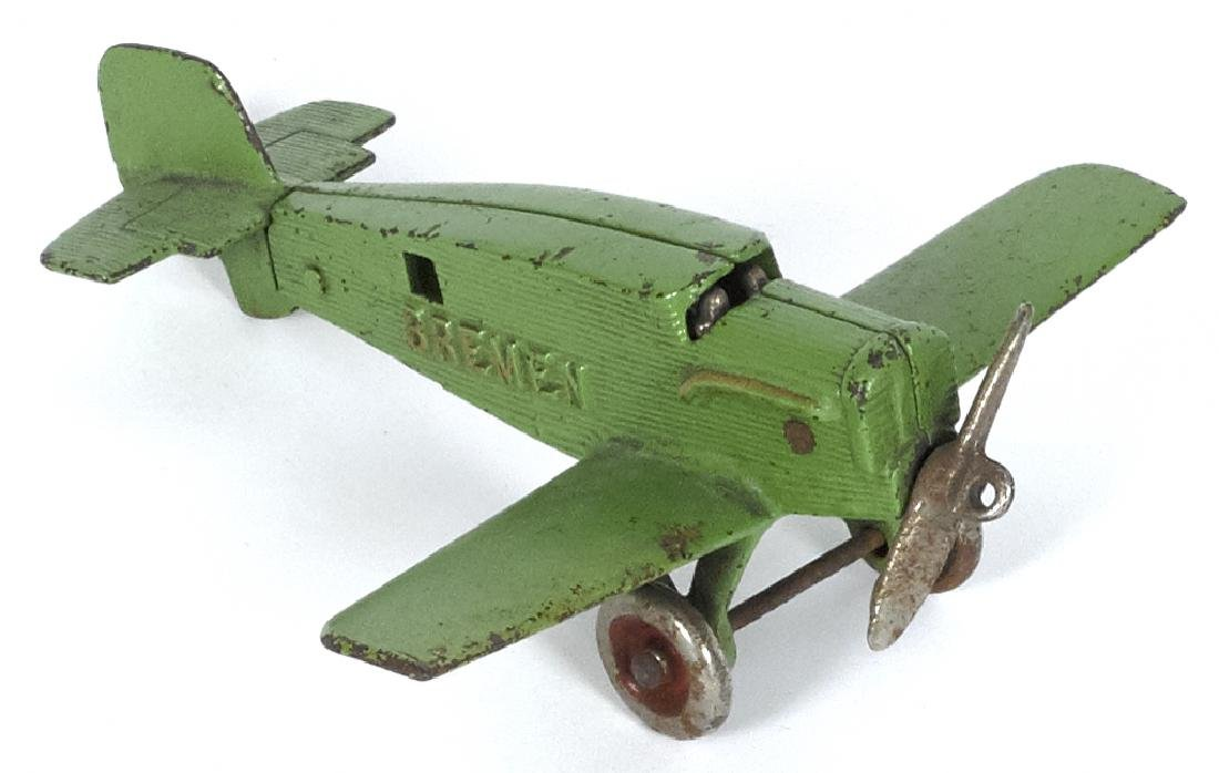 Hubley cast iron Bremen airplane, embossed D1167, 6