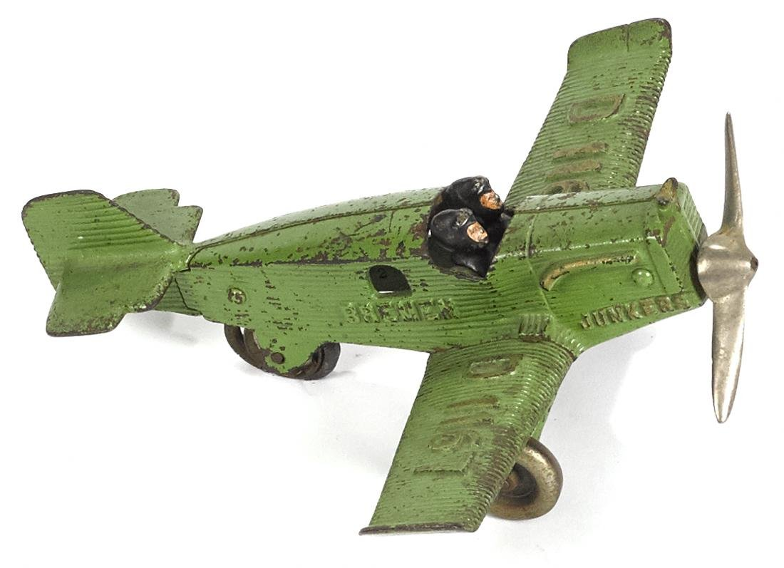 Hubley cast iron Bremen Junkers airplane, embossed