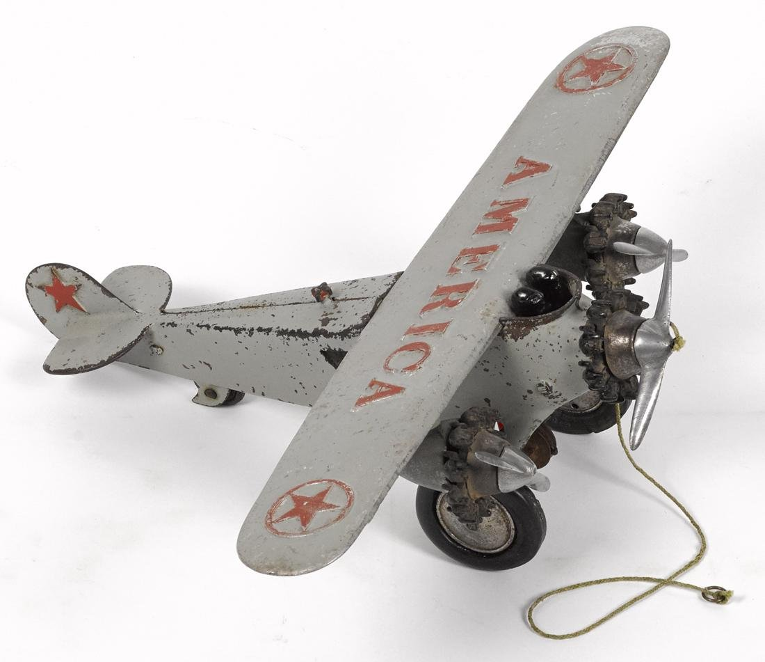 Hubley cast iron tri-motor America airplane with two