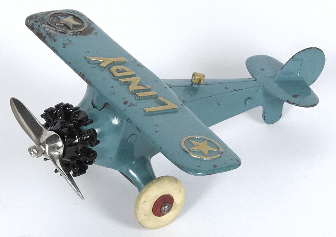 Hubley cast iron Lindy airplane with a nickel-plated