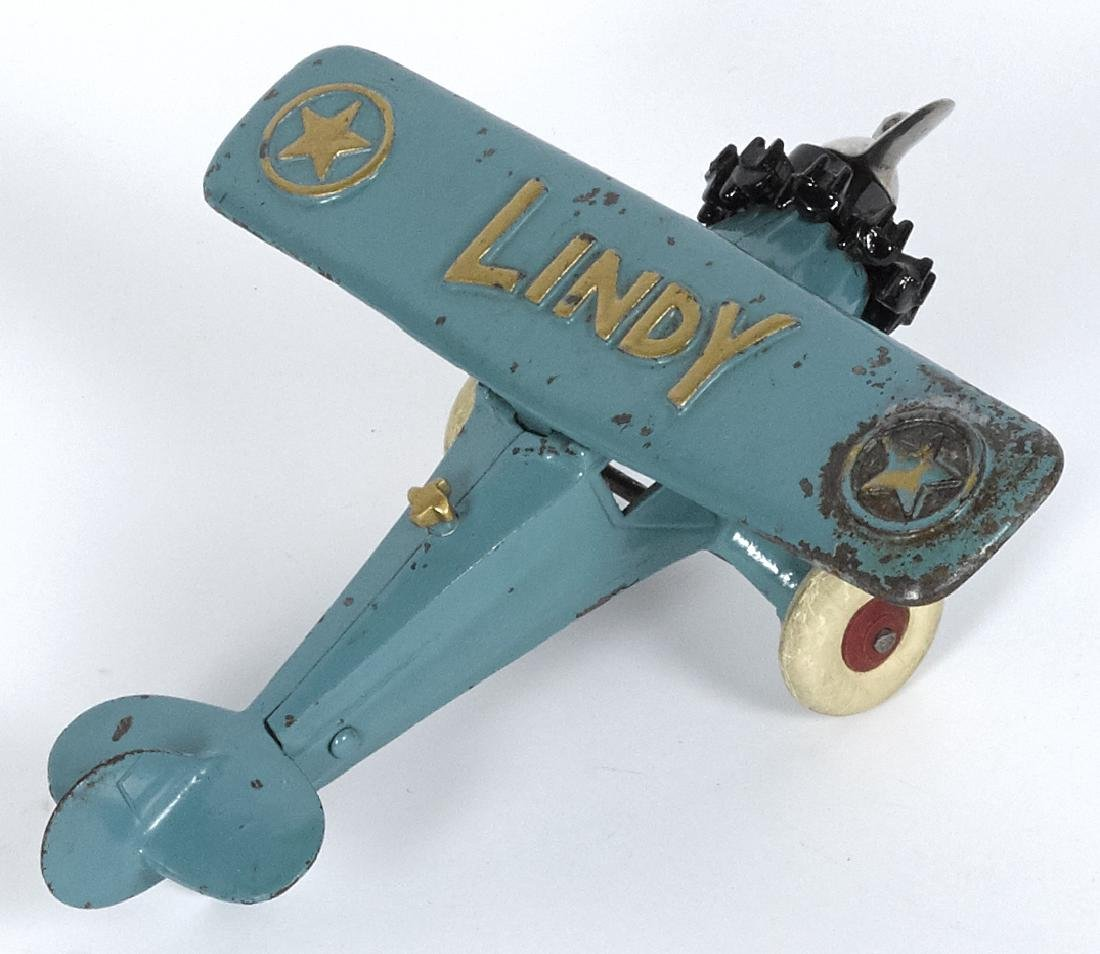 Hubley cast iron Lindy airplane with a nickel-plated - 2