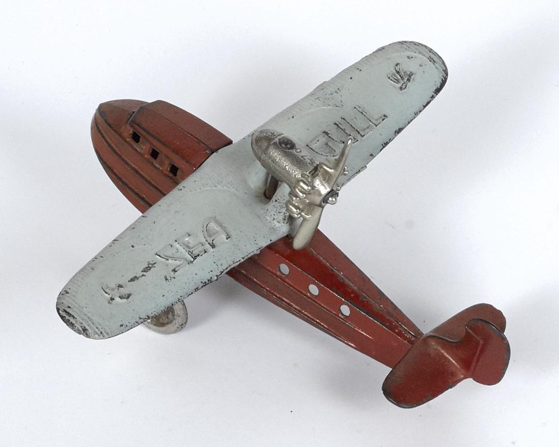 Kilgore cast iron Sea Gull airplane with a - 2