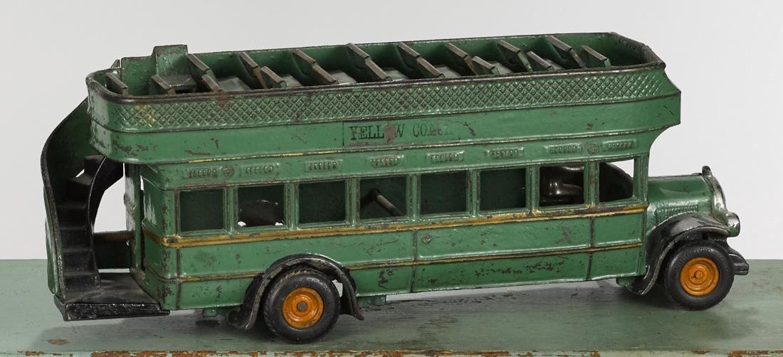 Arcade cast iron Yellow Coach double decker bus, 13