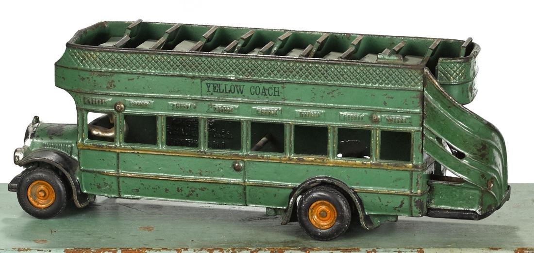 Arcade cast iron Yellow Coach double decker bus, 13 - 2