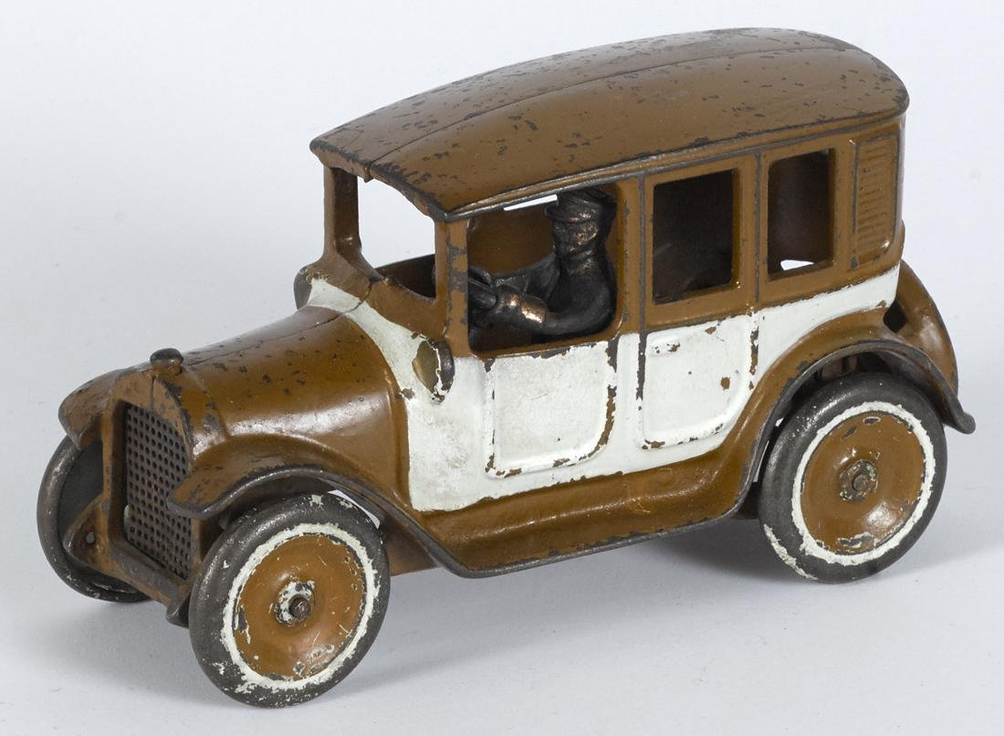 Arcade cast iron brown and white cab with copper