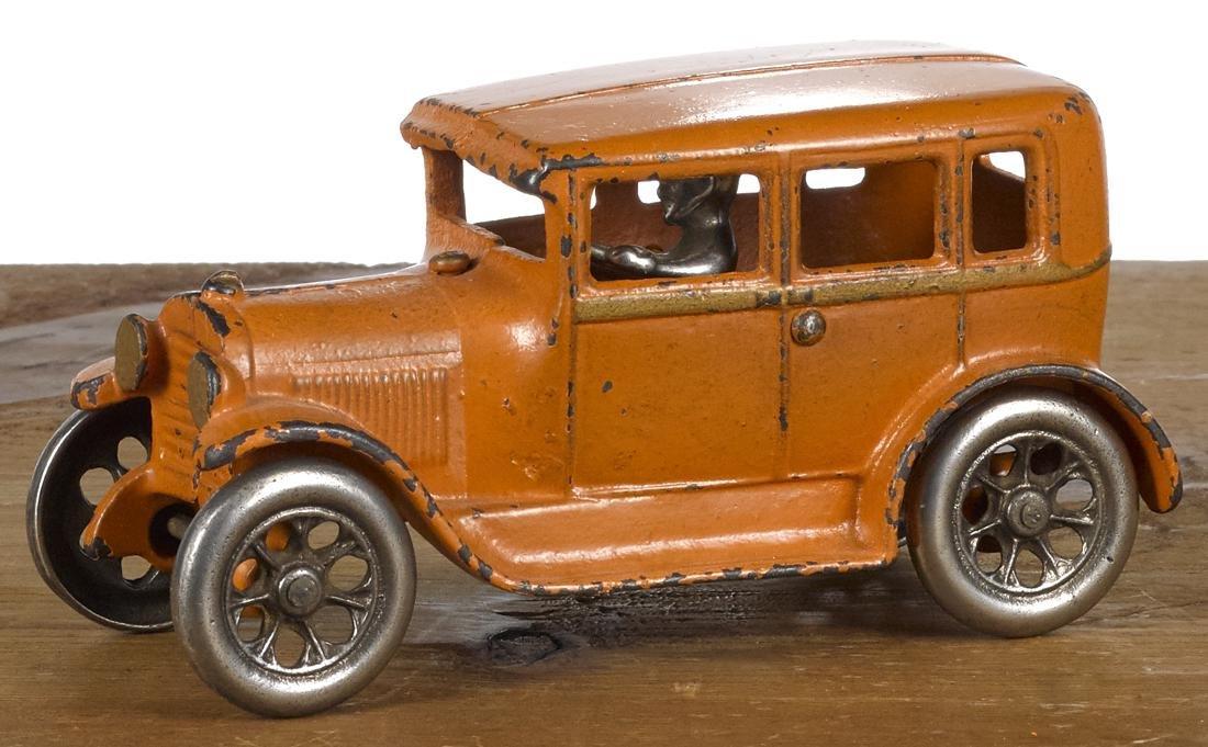 Arcade cast iron four-door sedan with a nickel-plated