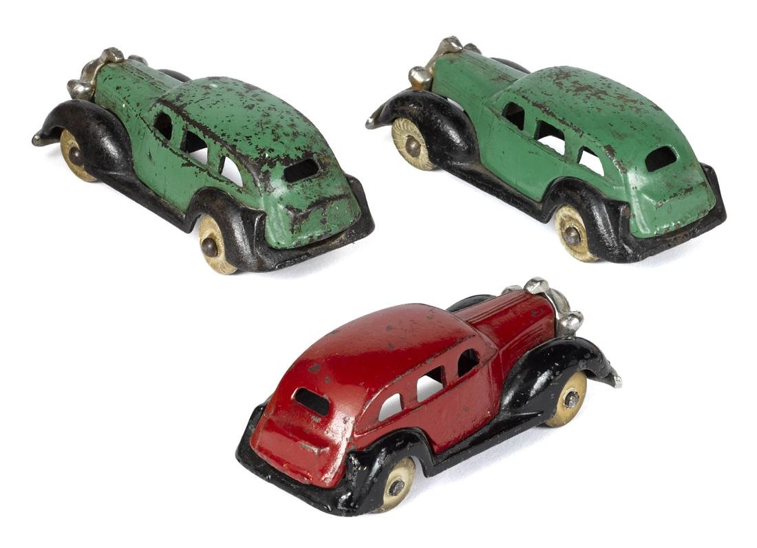 Three Kenton cast iron sedans with nickel-plated - 2