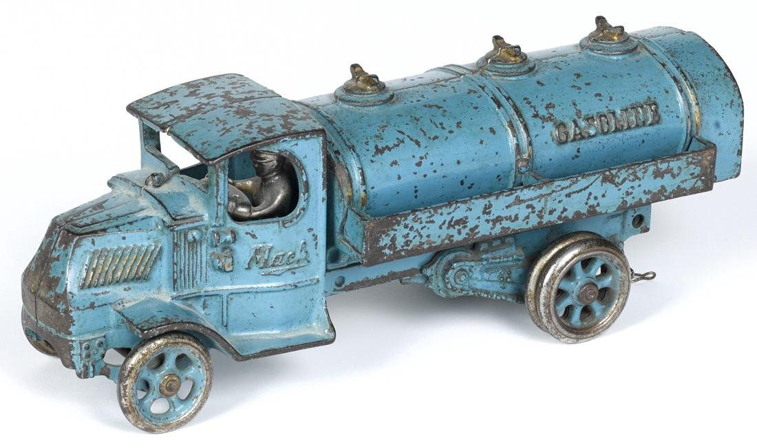 Arcade cast iron Mack Gasoline truck with a