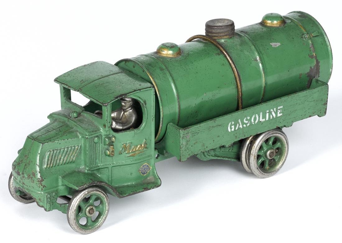 Arcade cast iron Mack Gasoline tanker truck with a