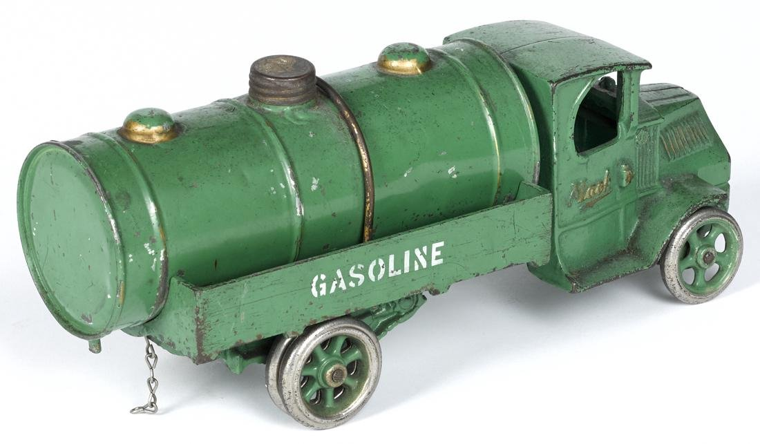 Arcade cast iron Mack Gasoline tanker truck with a - 2