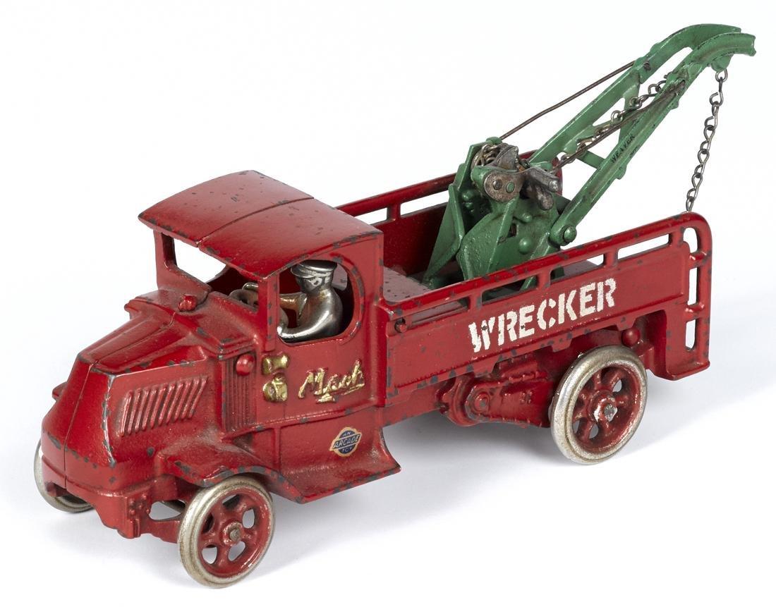 Arcade cast iron Mack wrecker truck with a