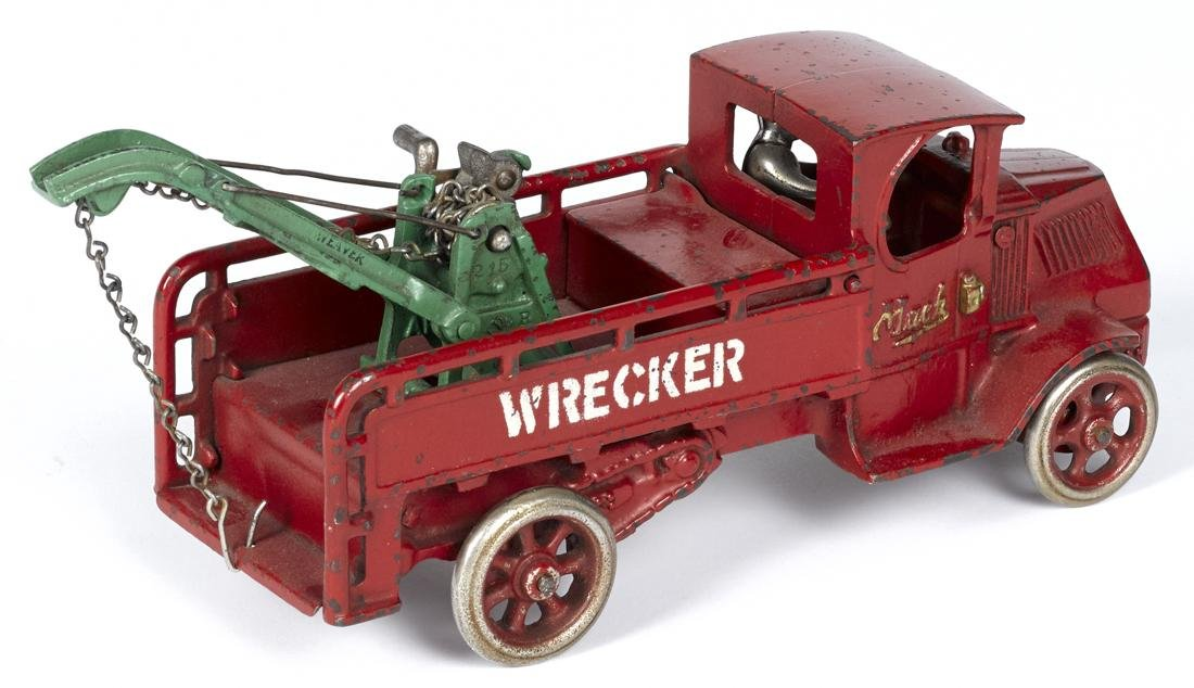 Arcade cast iron Mack wrecker truck with a - 2