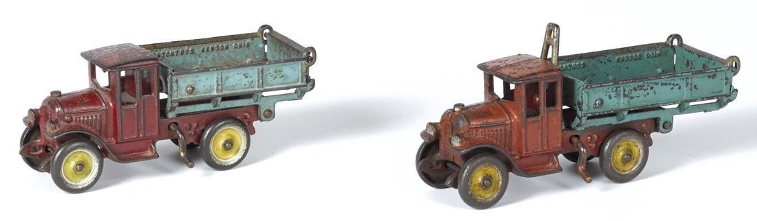 Two Kenton cast iron dump trucks, in scarce size, 8
