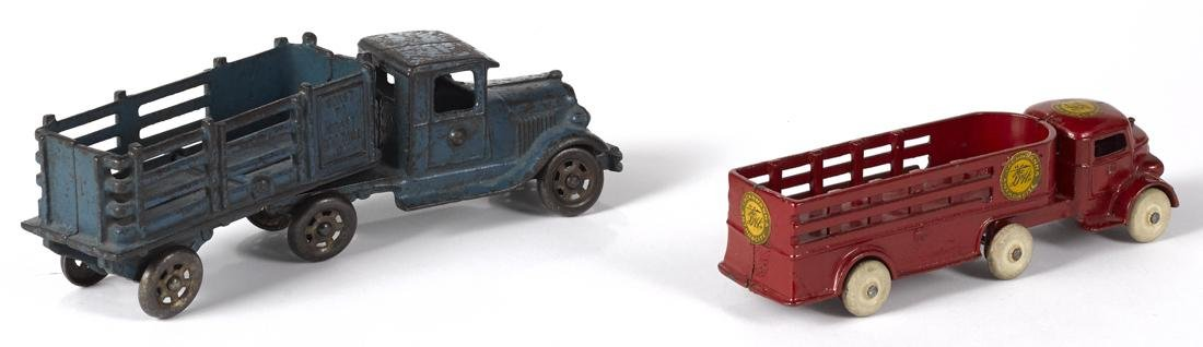 Two cast iron stake back trailer trucks, to include an - 2
