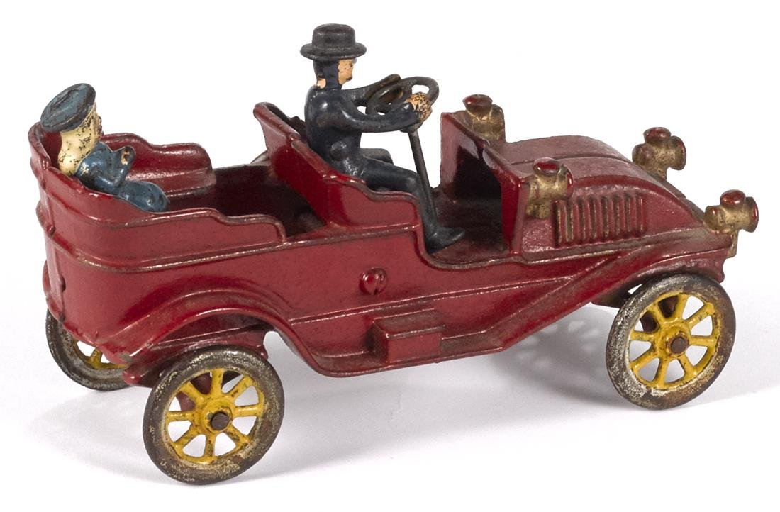 Kenton cast iron touring car with a painted driver and - 2