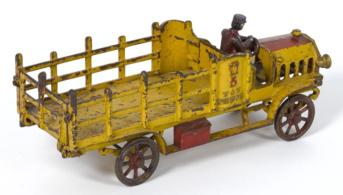 Hubley cast iron 5 Ton stake truck with a painted - 2