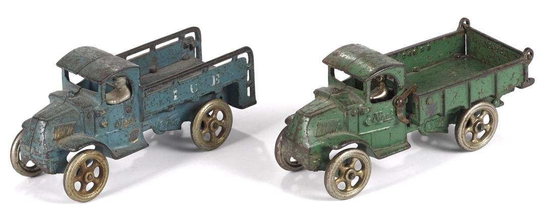 Two Arcade cast iron trucks with nickel-plated drivers,