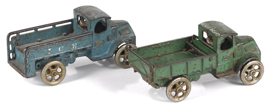 Two Arcade cast iron trucks with nickel-plated drivers, - 2
