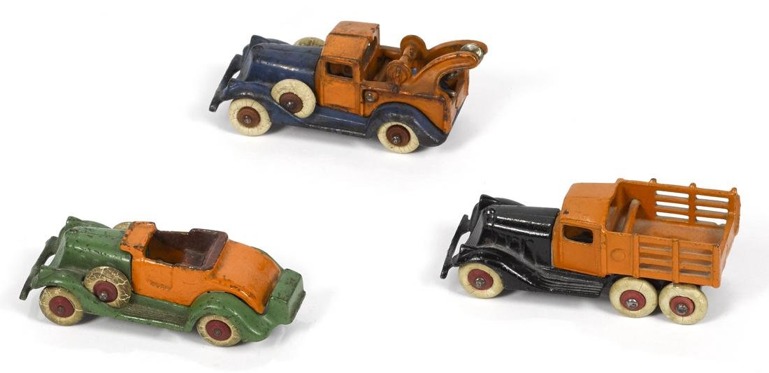 Three Hubley cast iron take-apart vehicles, to include - 2