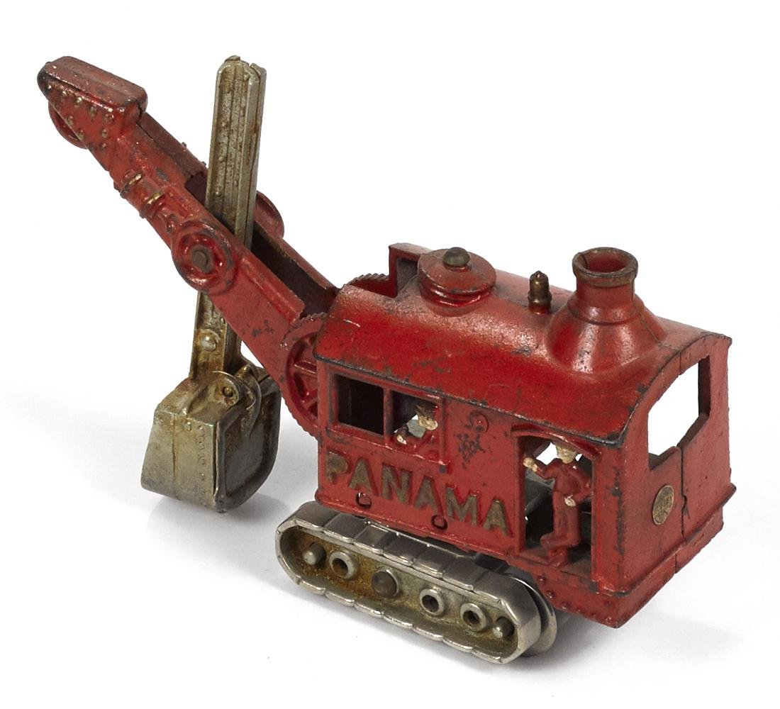 Hubley cast iron Panama steam shovel truck with a - 2