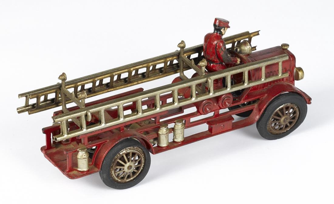 Hubley cast iron fire ladder truck with a painted - 2