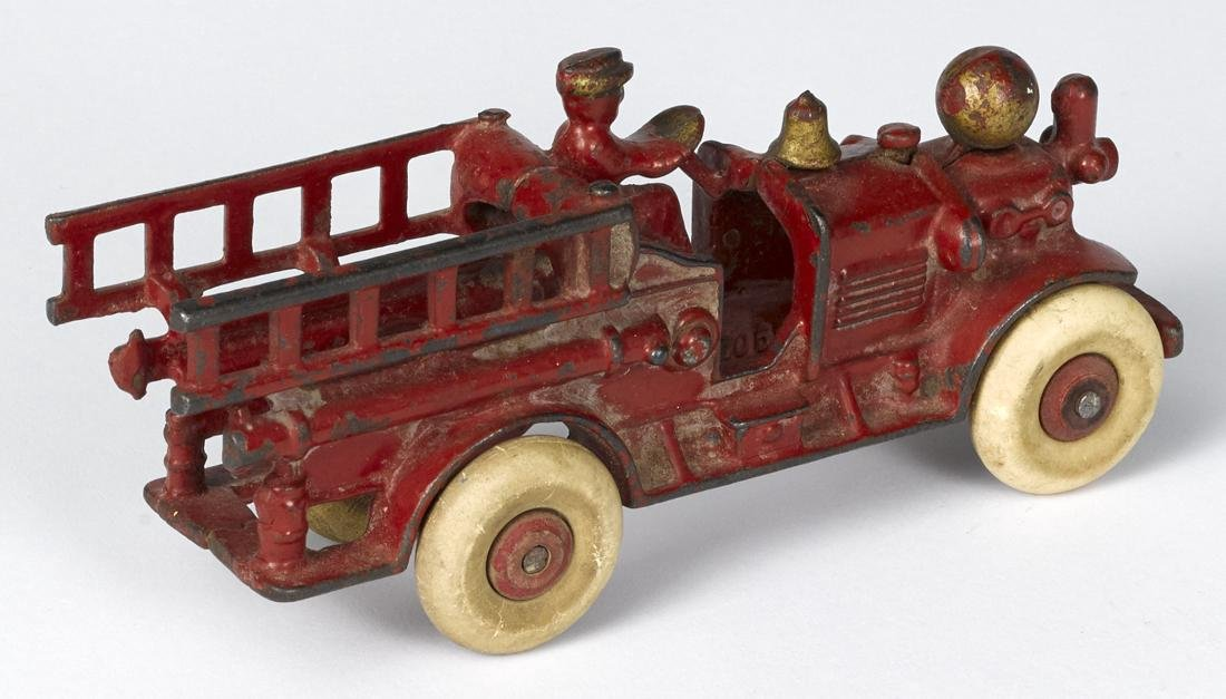 Hubley cast iron Ahrens Fox fire ladder truck with an - 2