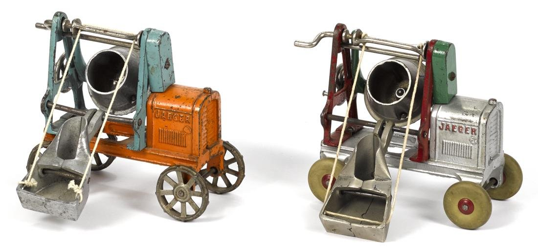 Two Kenton cast iron Jaeger cement mixers with