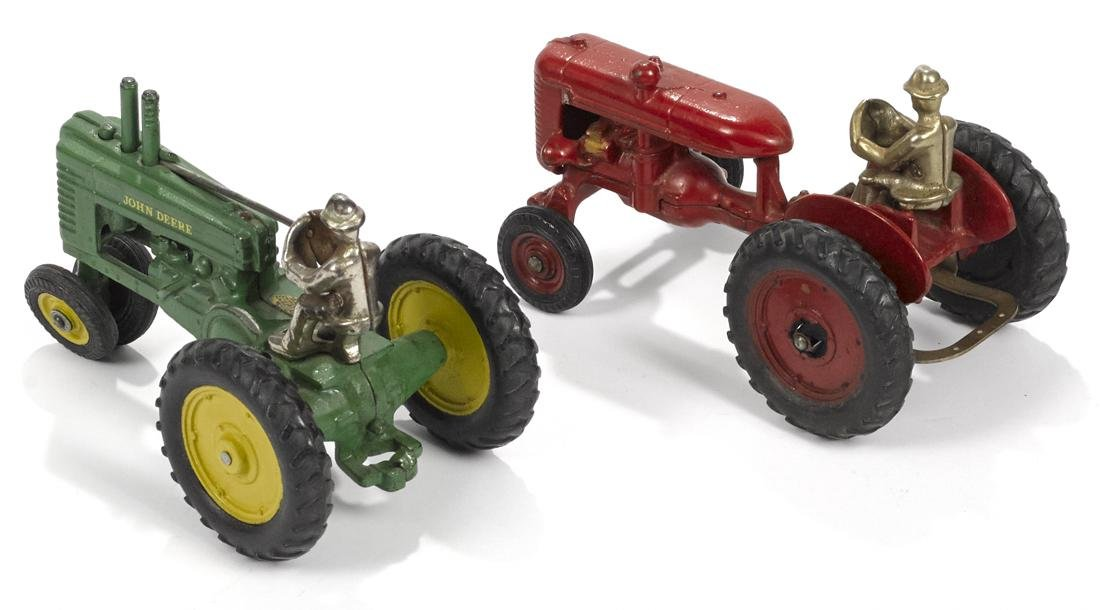 Two Arcade cast iron farm tractors with nickel-plated - 2
