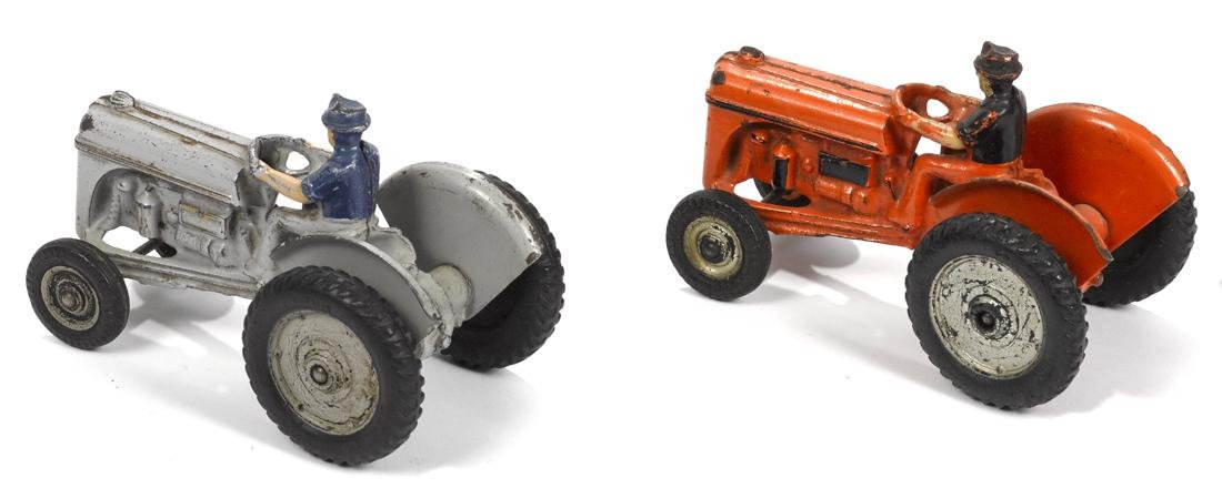 Two Arcade Ford 9n cast iron tractors, gray and orange, - 2