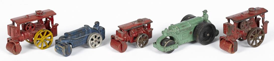 Five small Hubley cast iron road rollers, to include
