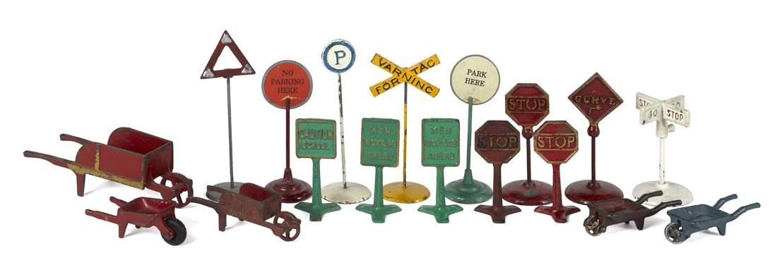 Thirteen cast iron road signs, to include Arcade, etc.,
