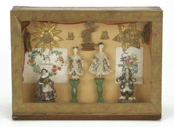 12: 4 Shell Dolls in German Shadowbox