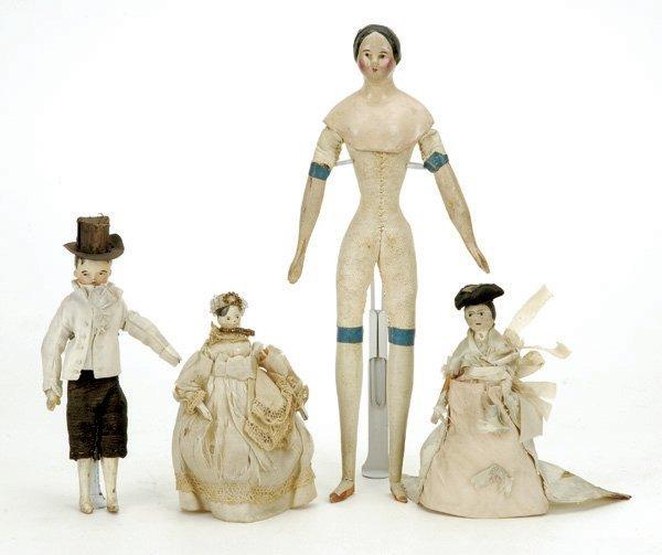 13: Lot: Milliner Model and 3 Peg Wooden Dolls