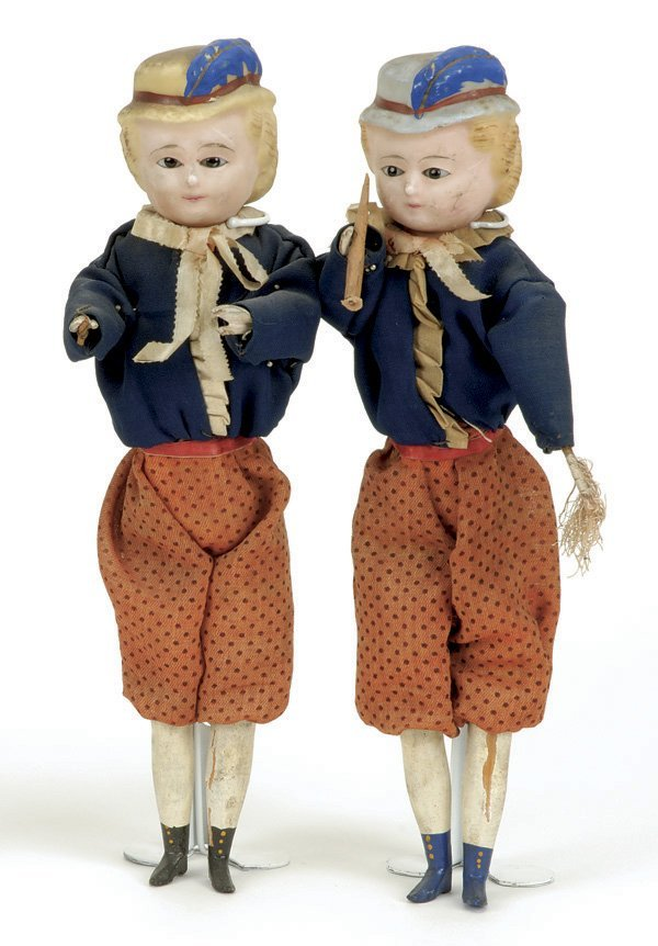 627: Pair of German Wax over Composition Boys